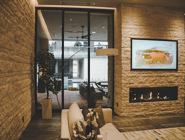2019 New American Remodel Home Living Room With Modern Linear Fireplace