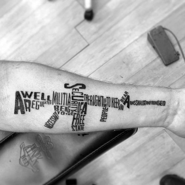 2nd Amendment Tyopgraphy Guys Cool Ar 15 Tattoo Ideas
