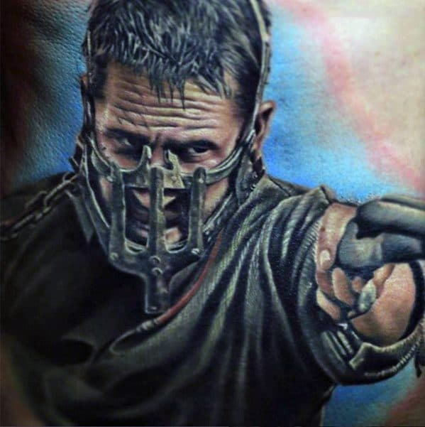 3 Chest Distinctive Male Mad Max Tattoo Designs