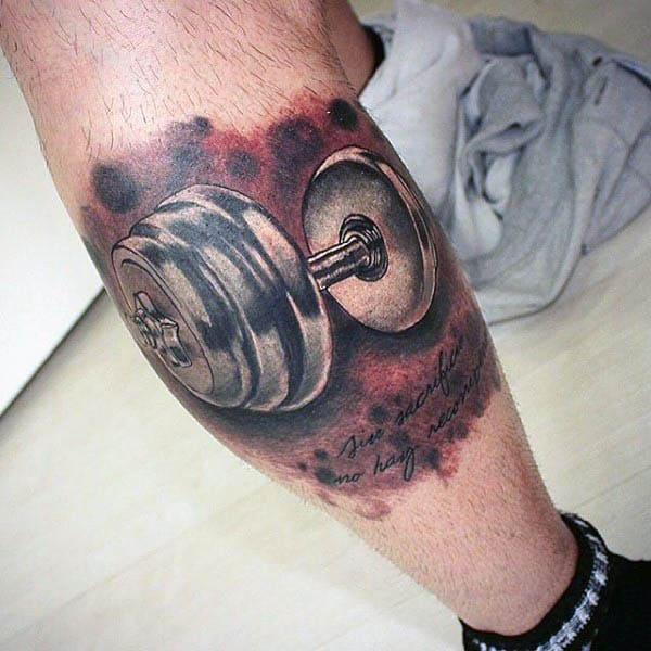 50 fitness tattoos for men bodybuilding design ideas 3 d realistic silver dumbbell male leg tattoos malvernweather Choice Image