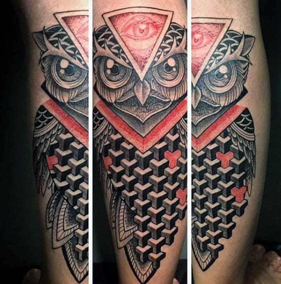 Owl 3 D Tattoos For Men