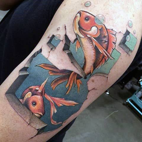 3 Dimensional Tattoo Designs For Men With Fish