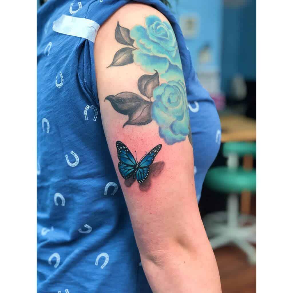 3D Blue Butterfly Tattoos blueshinesbright