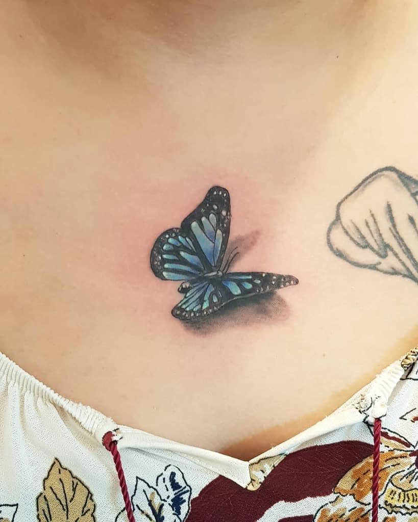 3D Blue Butterfly Tattoos hakuna_ma_tatoo