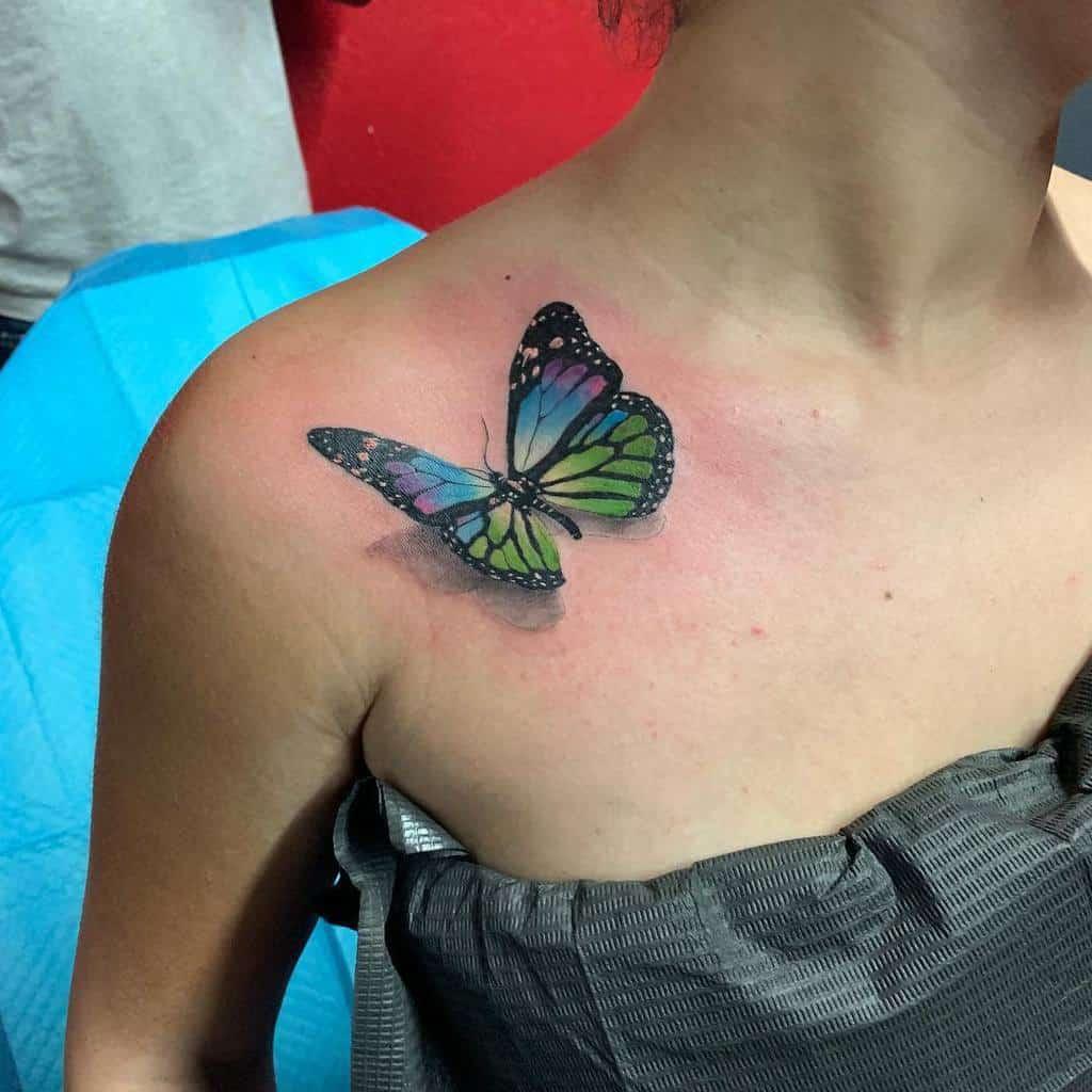 3D Butterfly Shoulder Tattoo gblack_n_mild