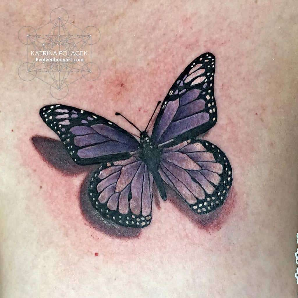 3D Purple Butterfly Tattoo akashicink