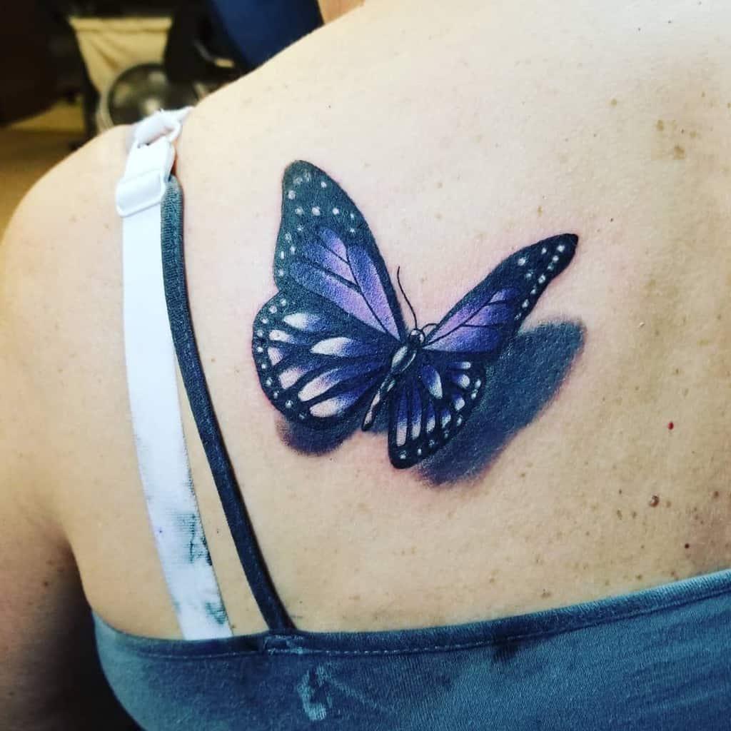 3D Purple Butterfly Tattoo destinationink82