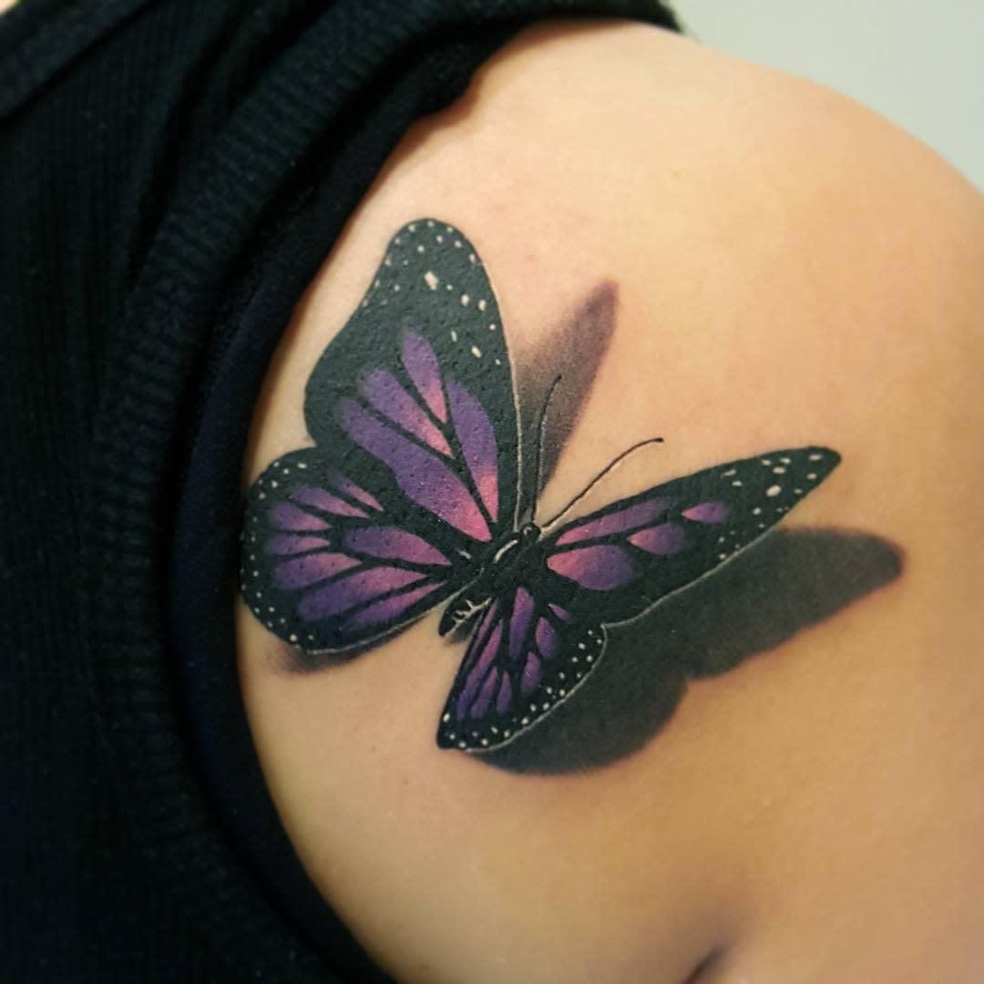 3D Purple Butterfly Tattoo diaoshane