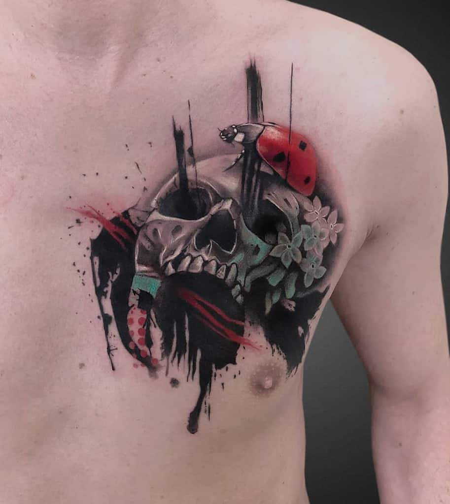 3D Skull Ladybug Tattoo chest badass