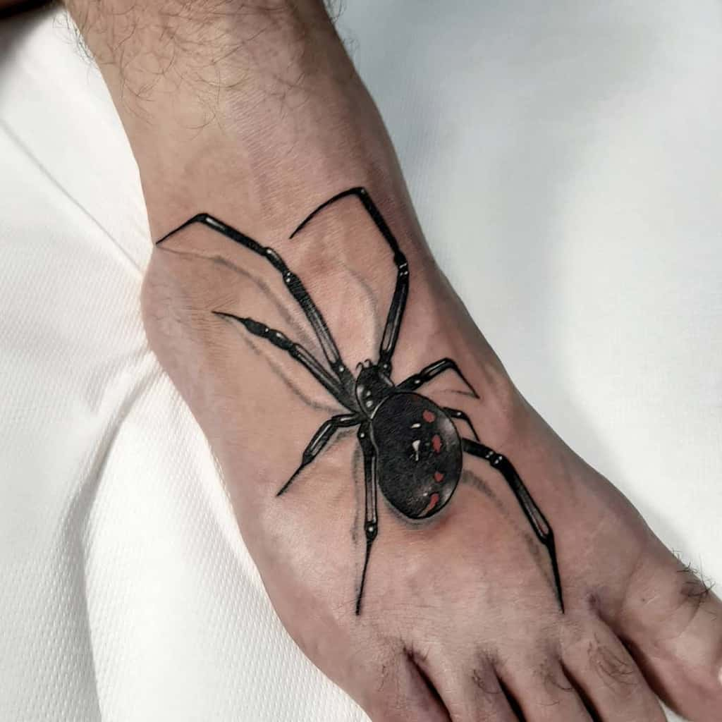 3D Spider Foot Tattoo andreasicktattoo