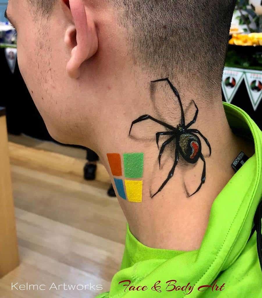 3D Spider Neck Tattoo kelmcilwain