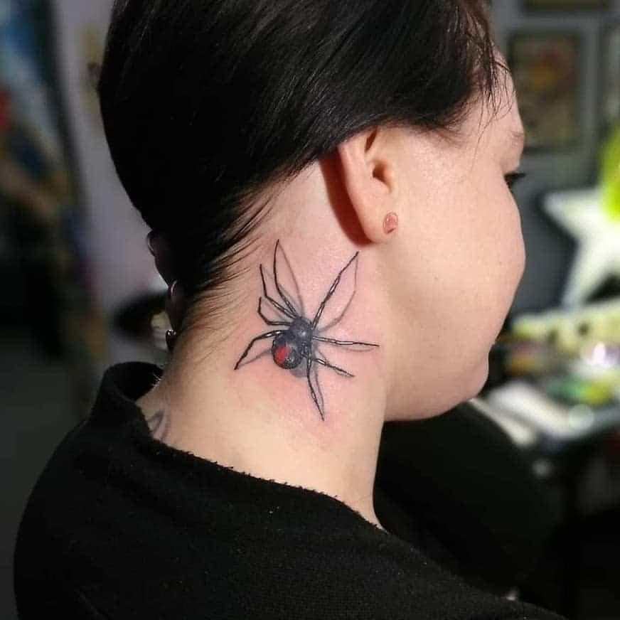 3D Spider Neck Tattoo tudyart