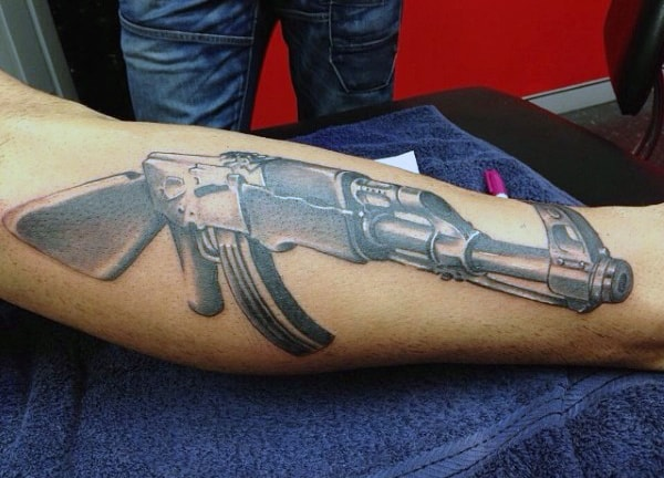 3D Ak 47 Tattoos Male Forearms