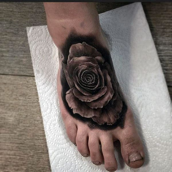 3D Black Rose Tattoos On Foot Males
