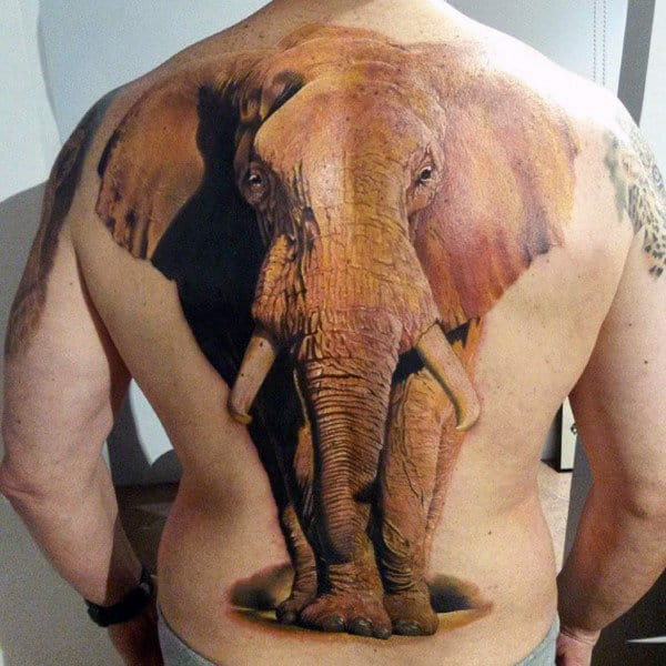 3D Brown Elephant Tattoo Males Back