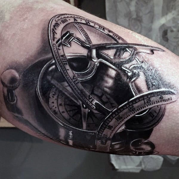 3D Compass Tattoo Male Inner Biceps