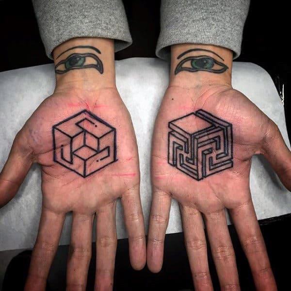 3D Cuboid Shaped Tattoo Male Palms