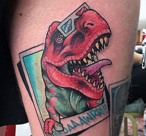 3D Dinosaur With 3D Glasses Tattoo Male Forearms
