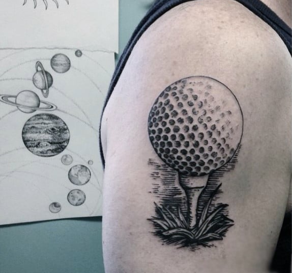 3D Dotted Grey Golf Ball Tattoos Mens Upper Arm