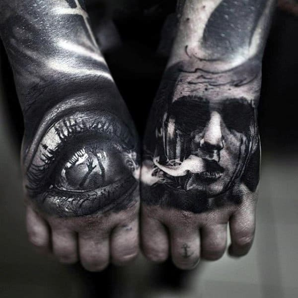 3D Eye And Scary Lady Face Tattoo Male Hands