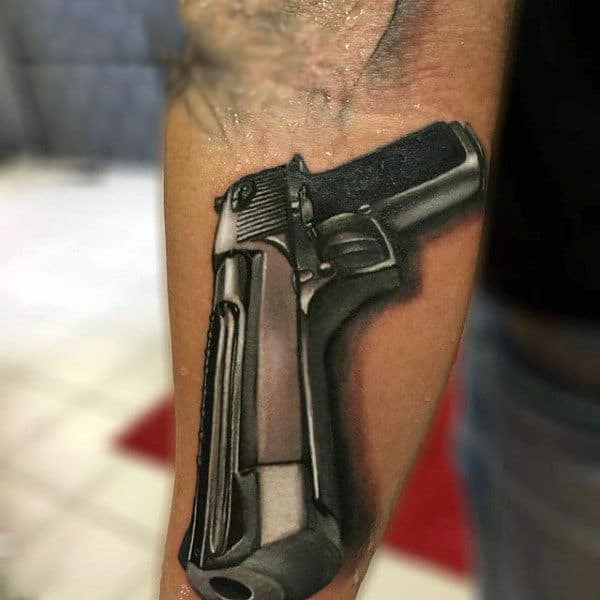 3D Greige Pistol Tattoo On Arms For Men