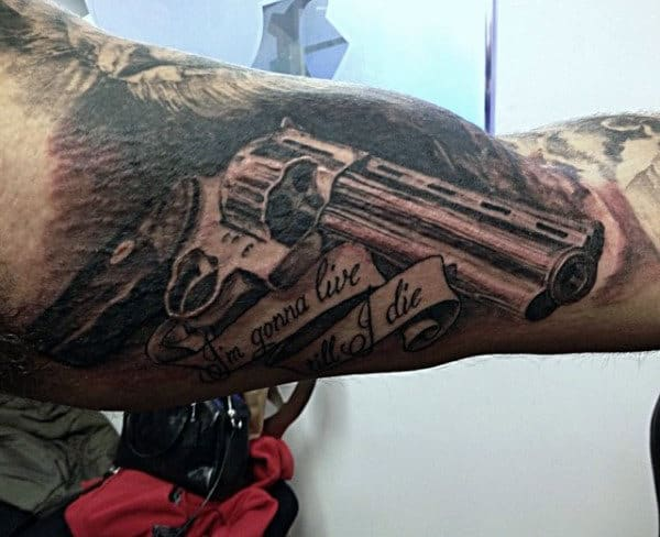 3D Grey Pistol Tattoos With Quote On Arms For Men
