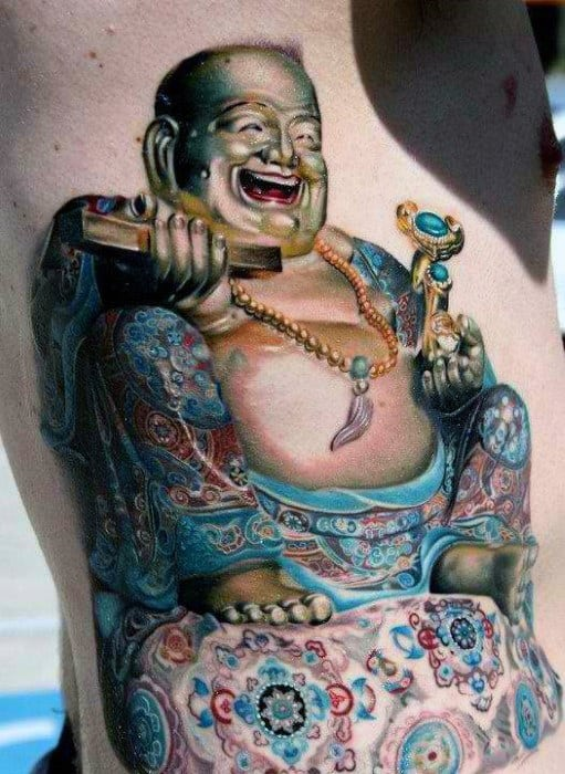 3D Laughing Buddha Tattoo On Torso For Men