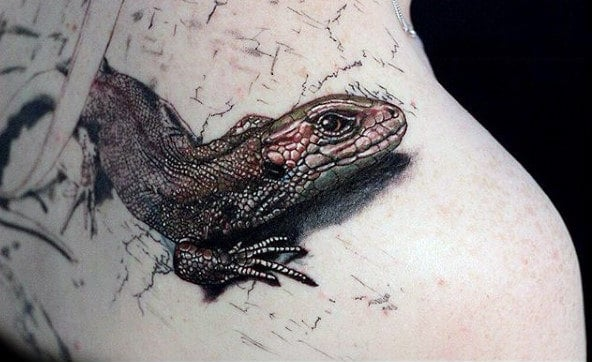 3D Lizard Tattoo With Scaly Skin For Men On Torso
