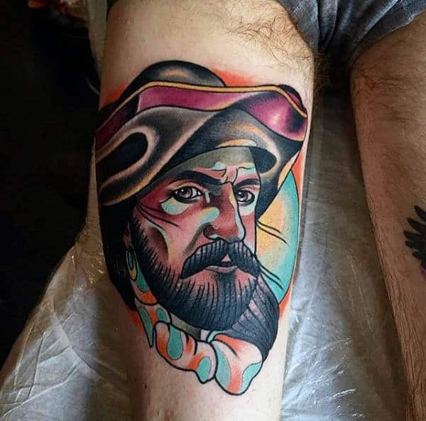3D Man With Mustache Neo Traditional Tattoo