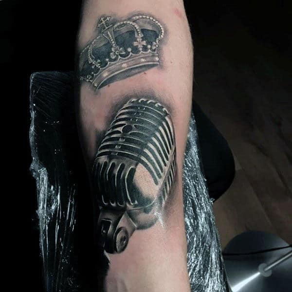 3D Microphone And Crown Tattoo Mens Forearm
