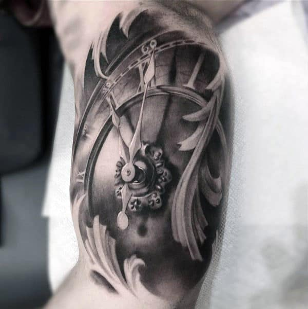3D Old Clock Tattoo For Men Quarter Sleeve