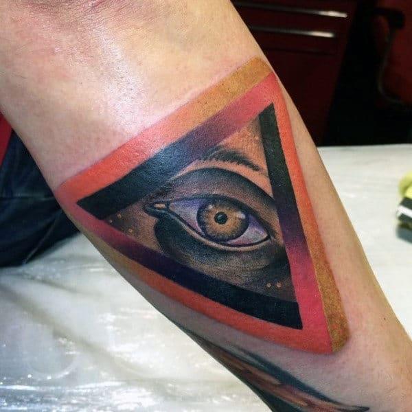3D Pink Orange Triangle Illuminati Tattoo For Guys Forearms