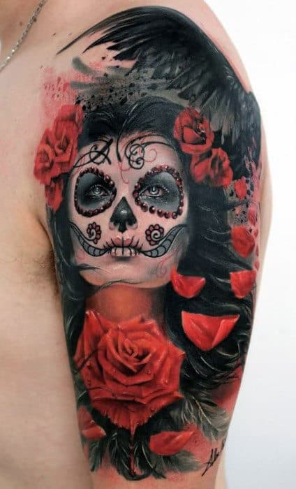3D Red Roses And Dark Lady Day Of The Night Tattoo Mens Arms