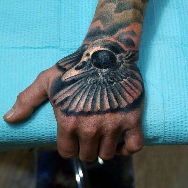 3D Sparrow Feathers Tattoo Mens Hands