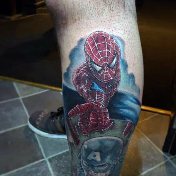 3D Spiderman Tattoo Male Arms