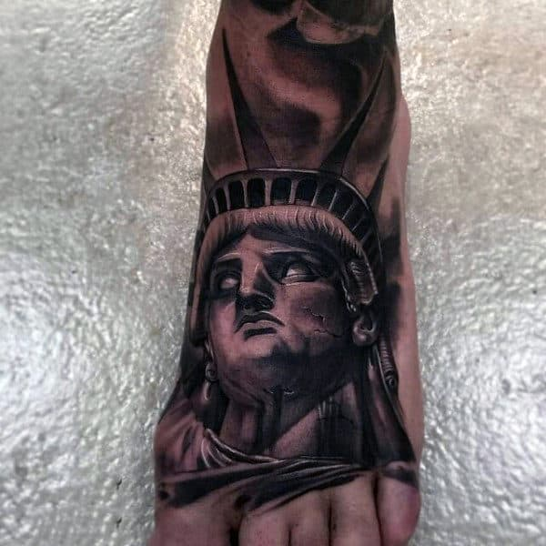 3D Statue Of Liberty Portrait Foot Tattoo For Men