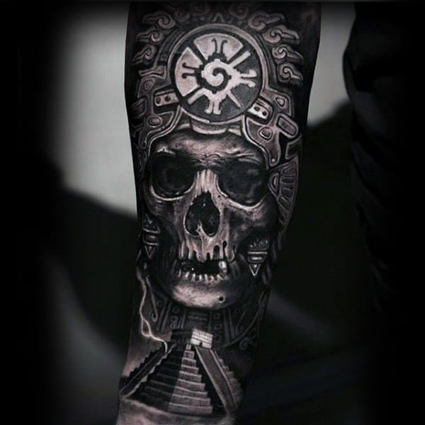 3d Amazing Guys Mayan Hunab Ku With Skull Guys Forearm Sleeve Tattoo