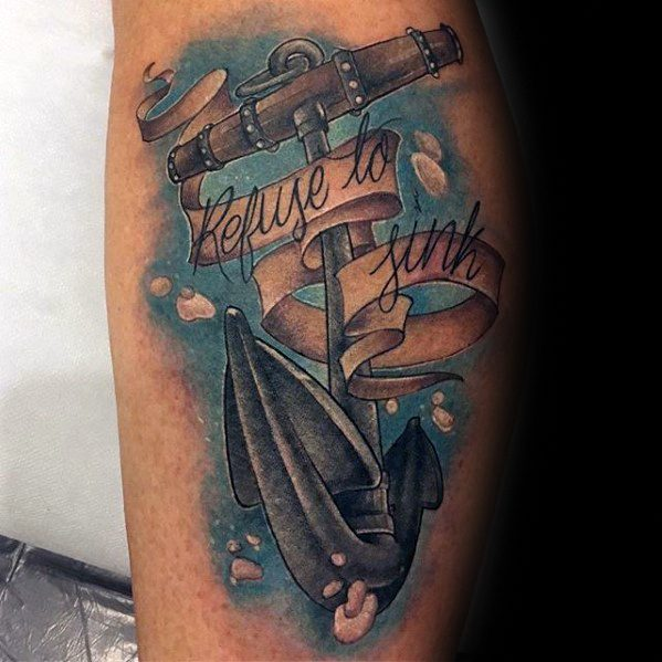 3d Anchor Leg Refuse To Sink Tattoo Ideas For Males