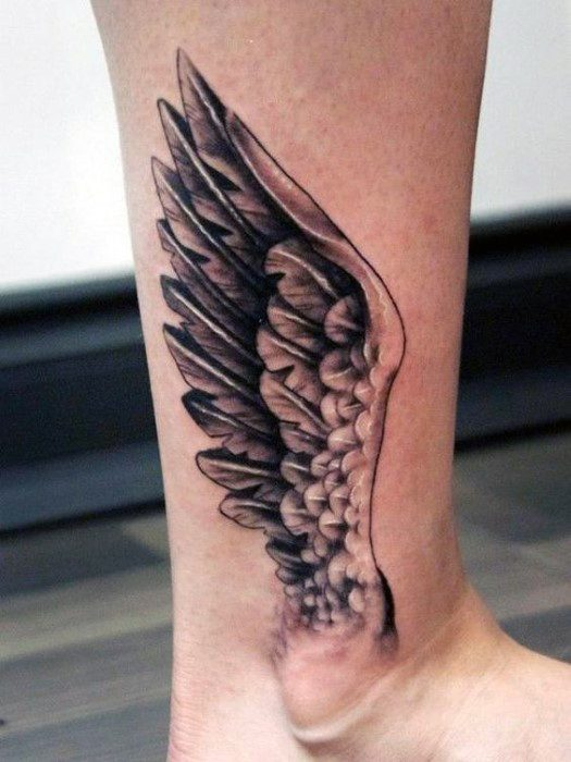 3d Angle Wing Ankle Tattoo Designs For Men