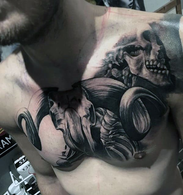 3d Animal Skull Guys Upper Chest Tattoo Design Ideas