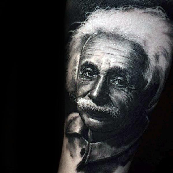 3d Arm Guys Tattoos With Albert Einstein Design