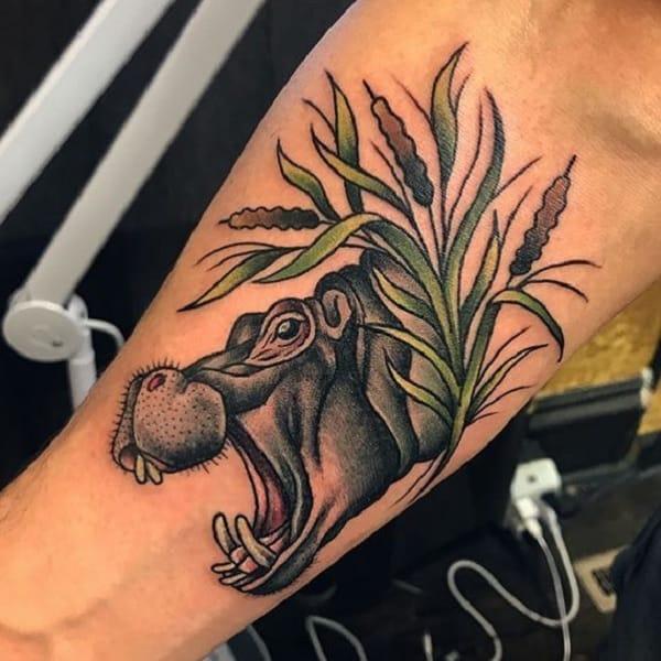 3d Arm Hippo Male Tattoos