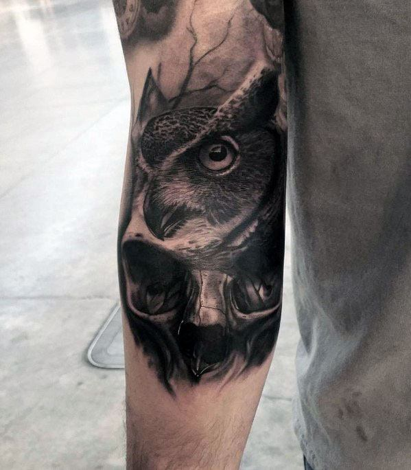 3d Arm Mens Owl Skull Tattoo Design Inspiration