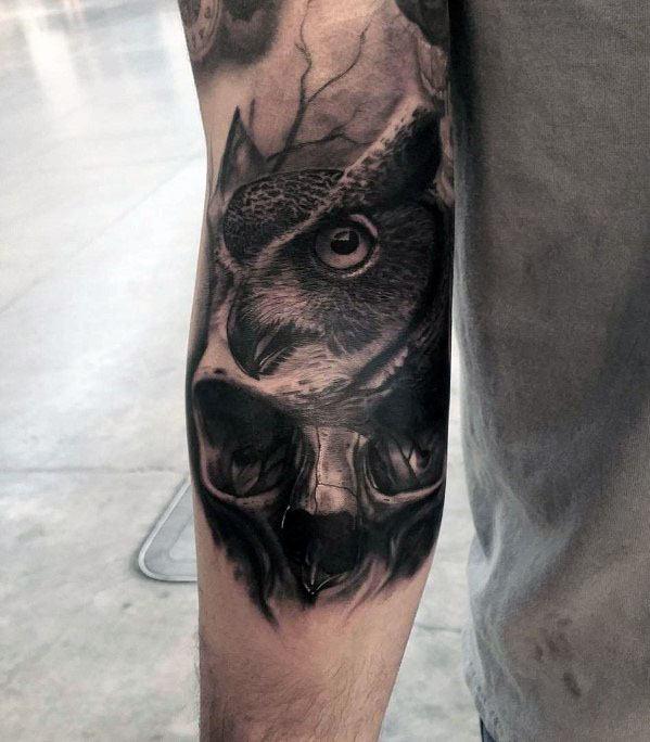 3d Arm Mens Owl Skull Tattoo Design Inspiration