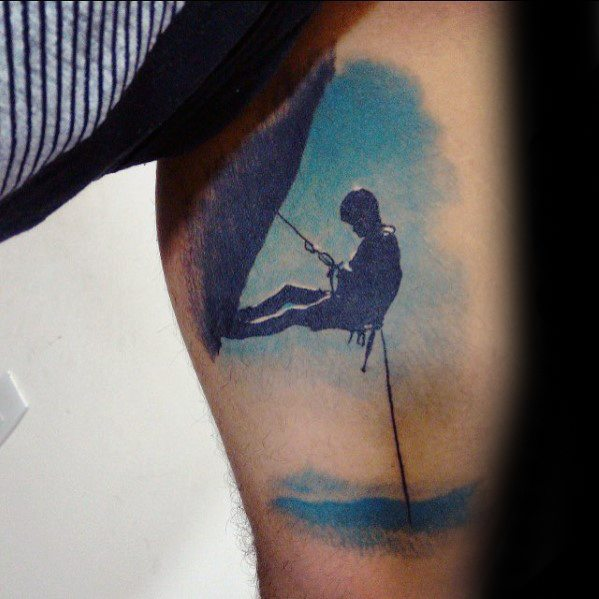 3d Arm Mens Tattoo Ideas With Rock Climbing Design