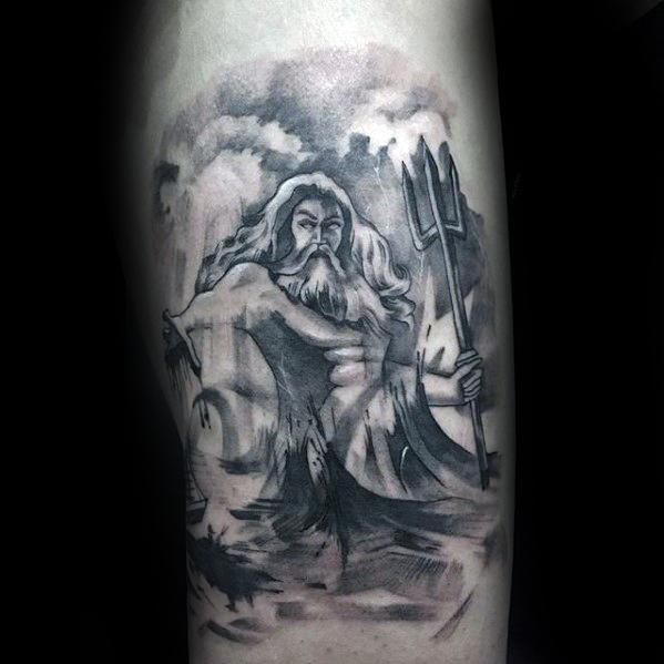 3d Arm Mens Trident Tattoo Design Inspiration