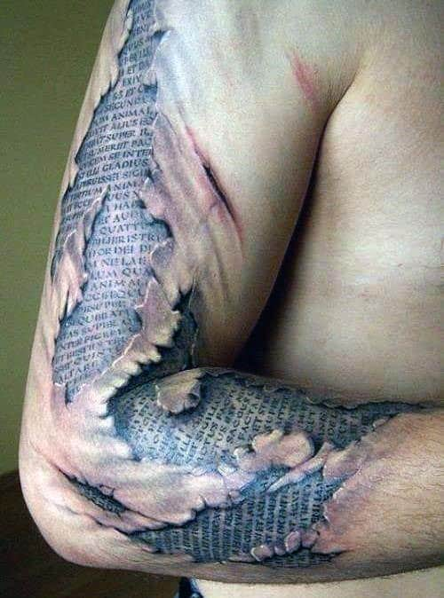 3D Arm Quote Tattoos For Men