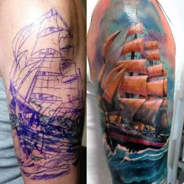 3d Arm Sailboat Tattoos Artwork For Men