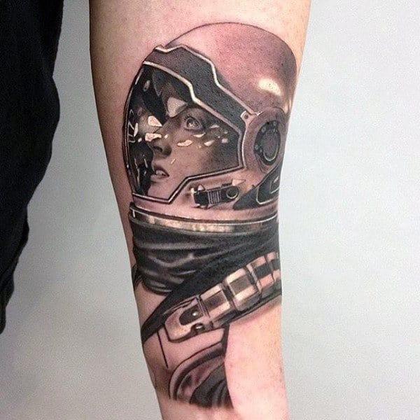3d Astronaut Helmet Artistic Male Forearm Tattoos