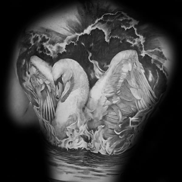 3d Back Distinctive Male Swan Tattoo Designs